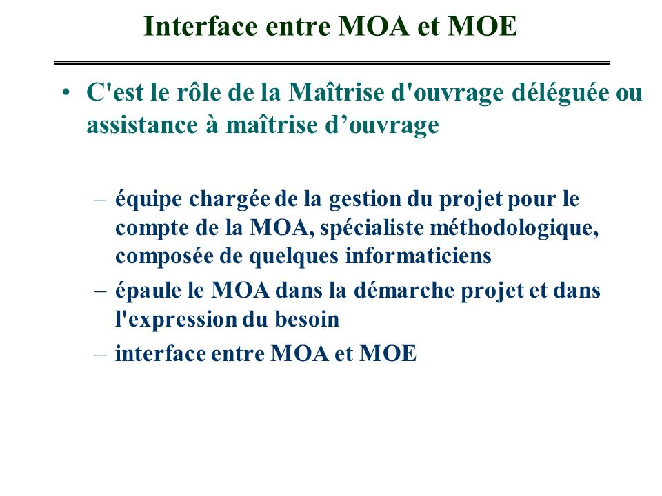 Interface entre MOA et MOE