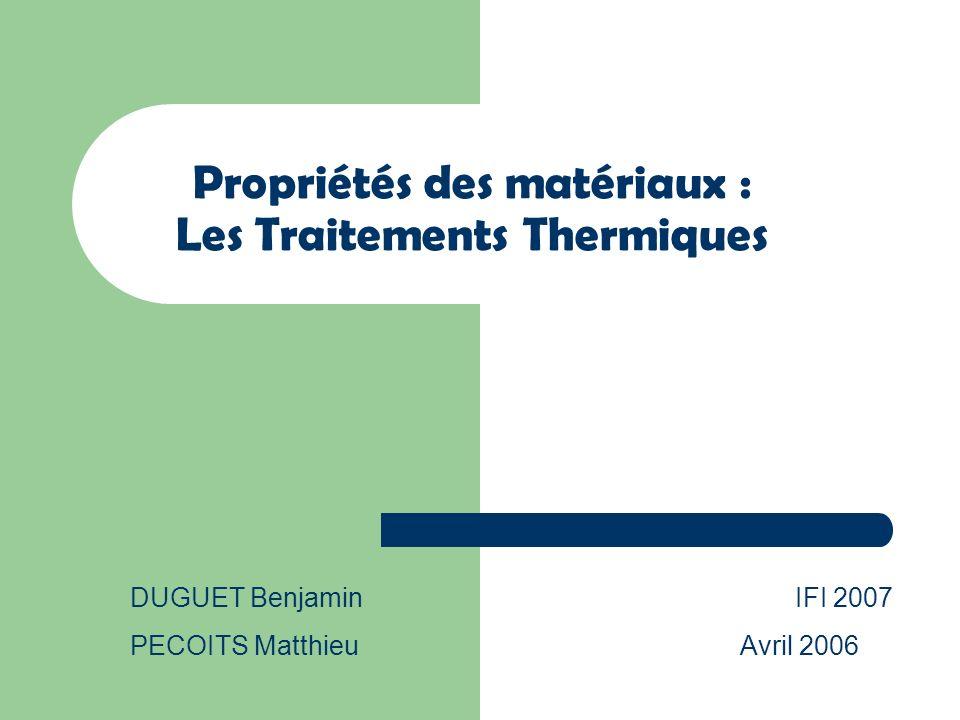Propriétés des matériaux : Les Traitements Thermiques