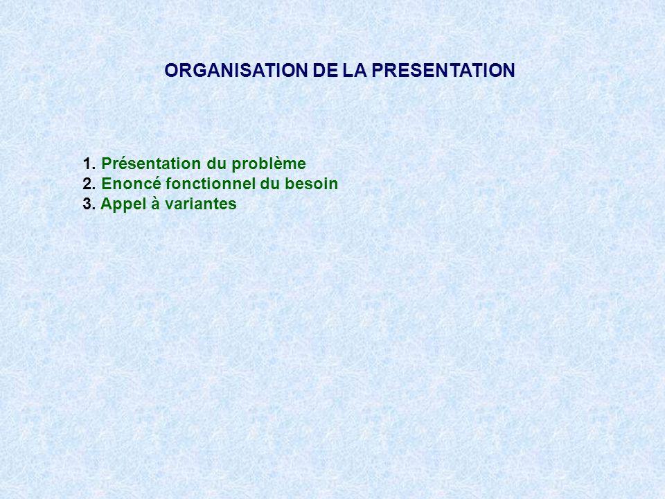 ORGANISATION DE LA PRESENTATION