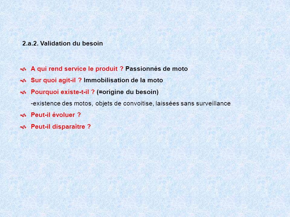 2.a.2. Validation du besoin A qui rend service le produit Passionnés de moto. Sur quoi agit-il Immobilisation de la moto.