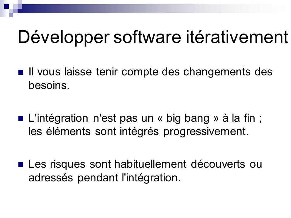 Développer software itérativement