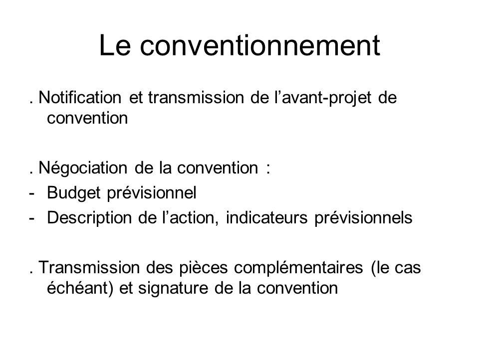 Le conventionnement . Notification et transmission de l'avant-projet de convention. . Négociation de la convention :
