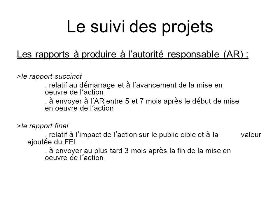 Le suivi des projets Les rapports à produire à l'autorité responsable (AR) : >le rapport succinct.
