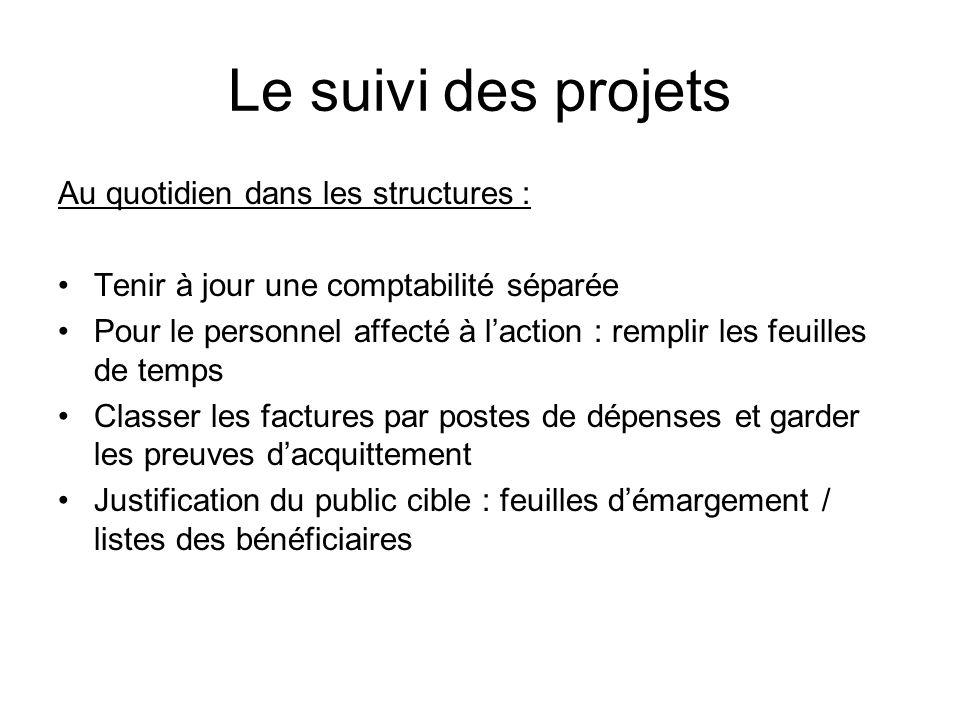 Le suivi des projets Au quotidien dans les structures :
