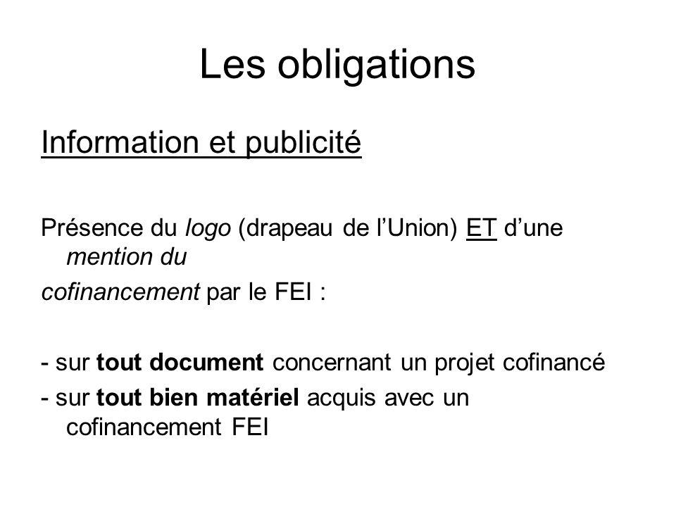 Les obligations Information et publicité
