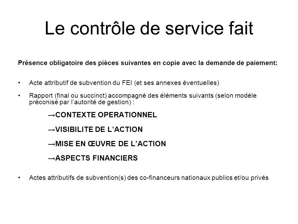 Le contrôle de service fait