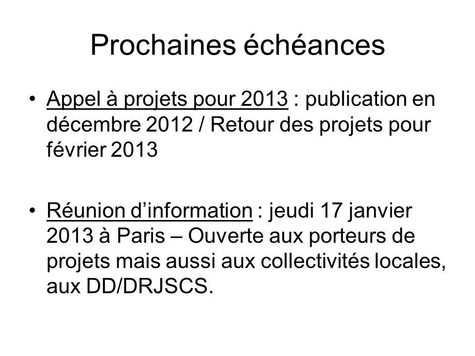 Prochaines échéances Appel à projets pour 2013 : publication en décembre 2012 / Retour des projets pour février 2013.