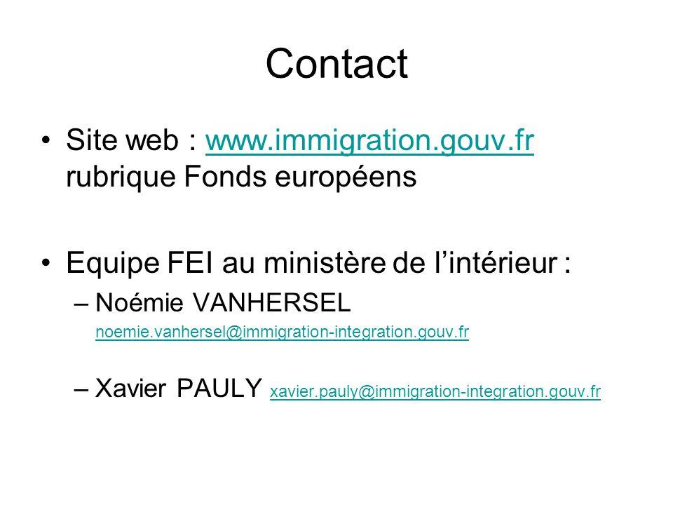 Contact Site web : www.immigration.gouv.fr rubrique Fonds européens. Equipe FEI au ministère de l'intérieur :