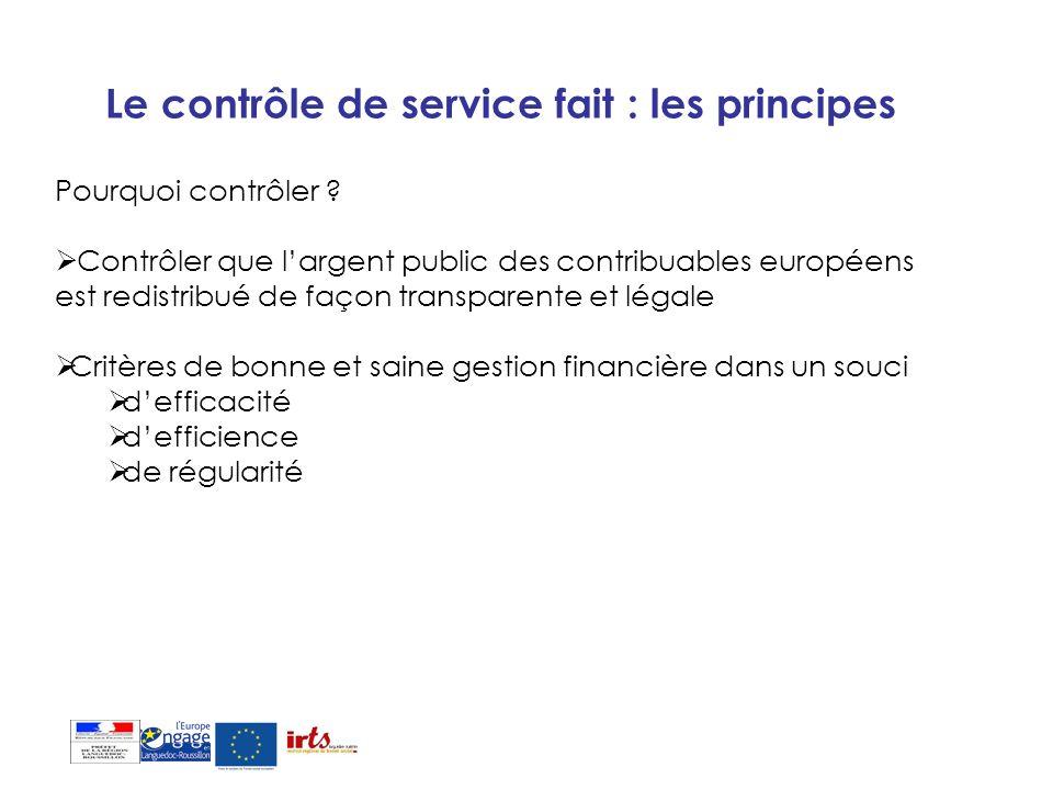 Le contrôle de service fait : les principes