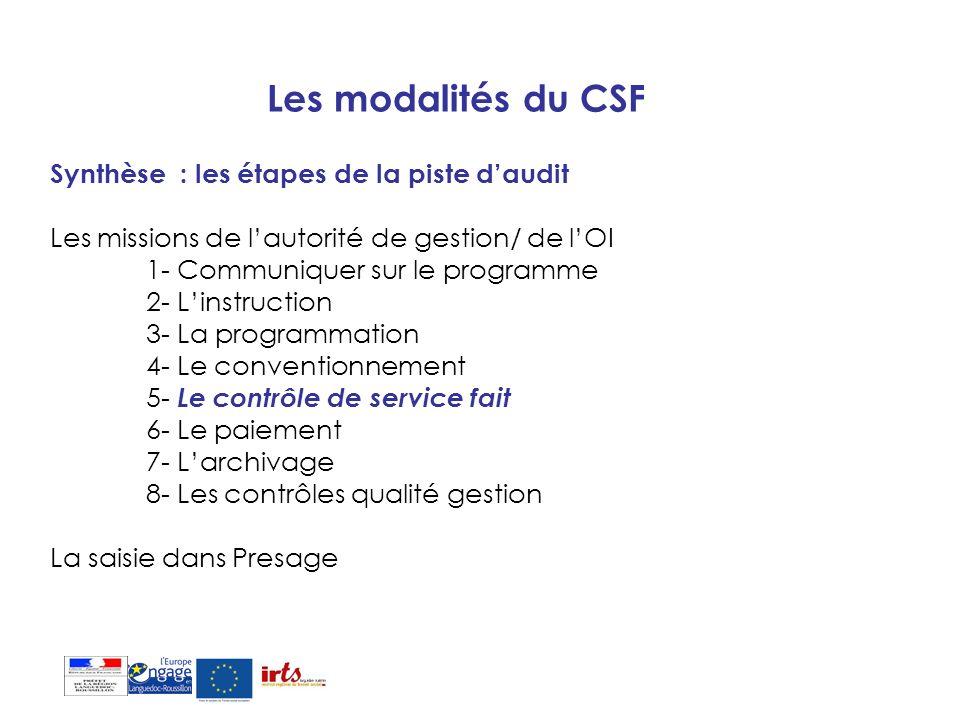 Les modalités du CSF Synthèse : les étapes de la piste d'audit