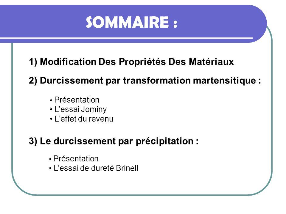 SOMMAIRE : 1) Modification Des Propriétés Des Matériaux