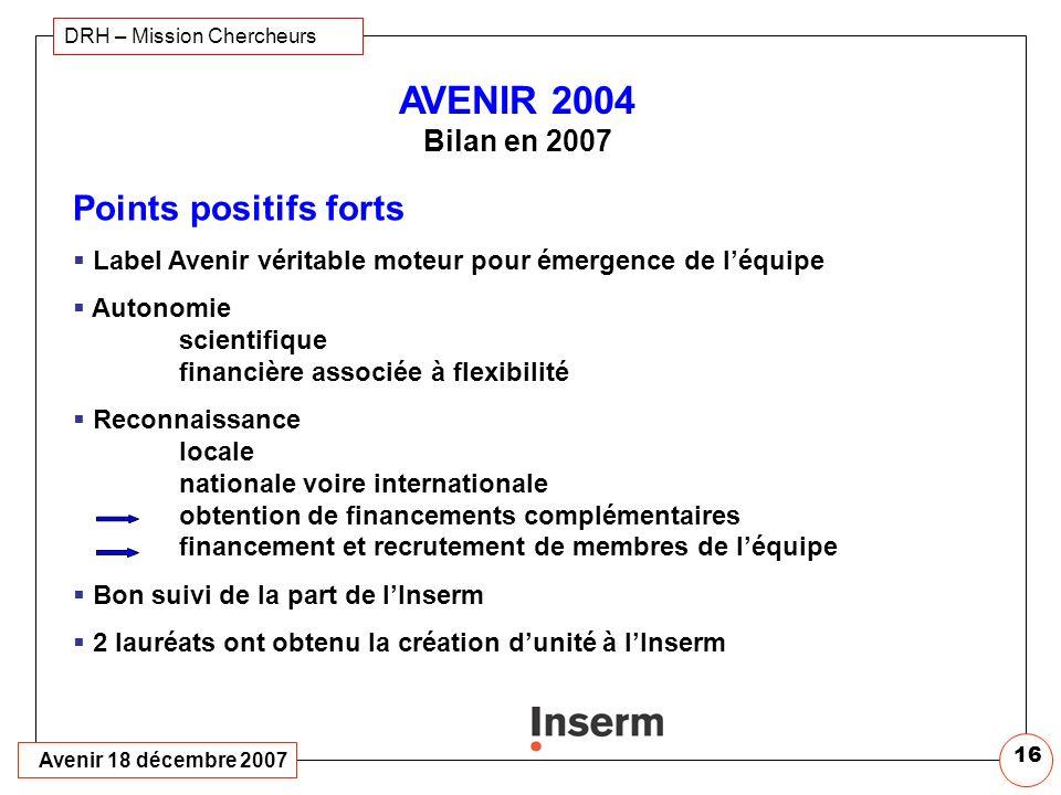 AVENIR 2004 Bilan en 2007 Points positifs forts