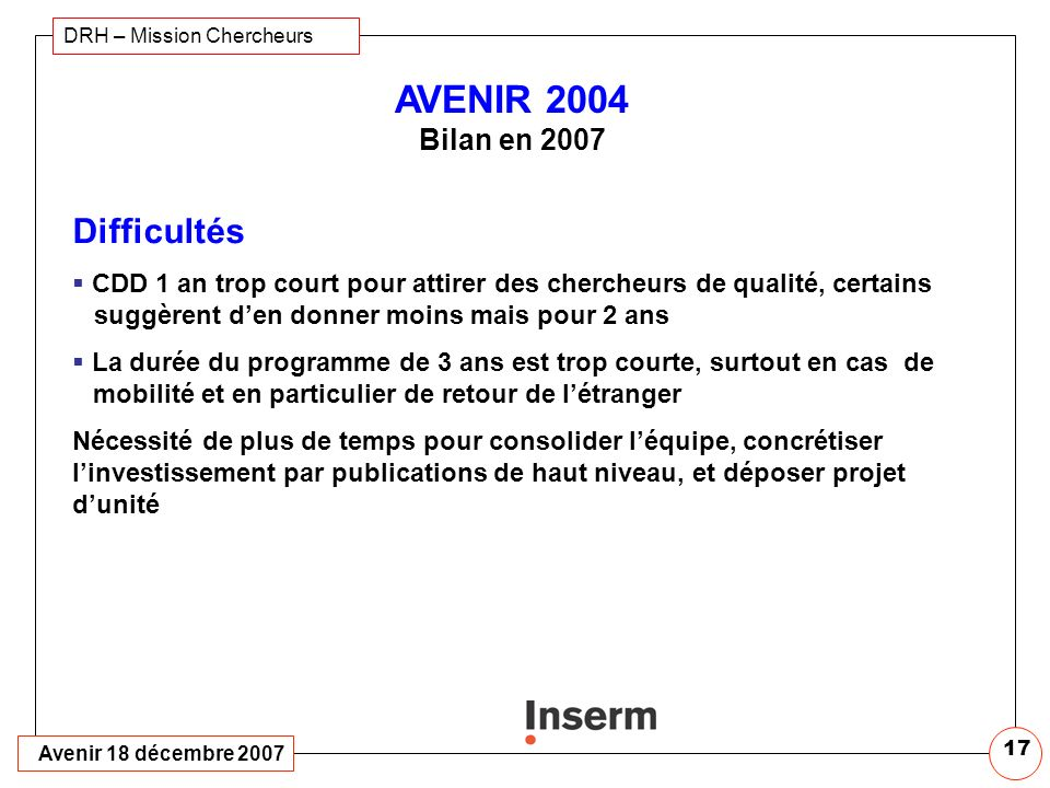 AVENIR 2004 Bilan en 2007 Difficultés