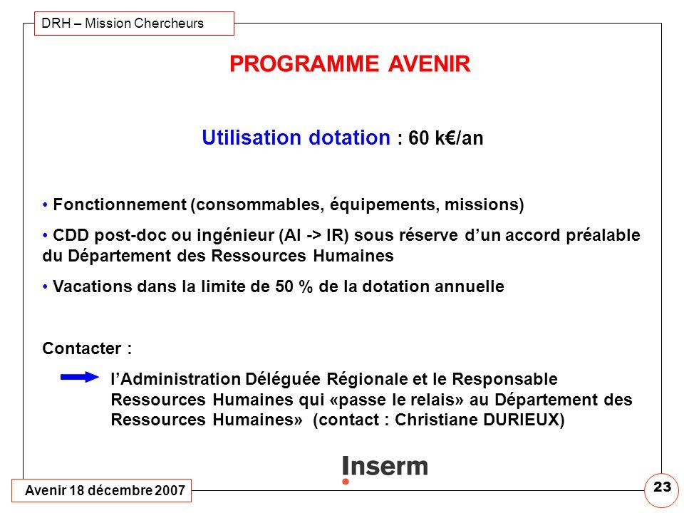 Utilisation dotation : 60 k€/an