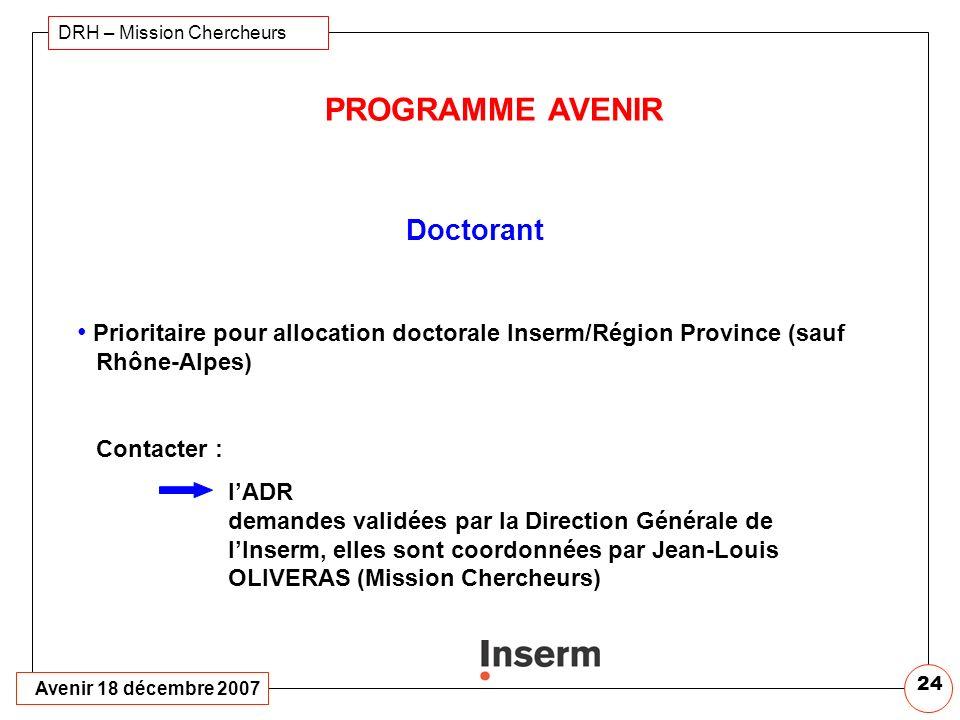 PROGRAMME AVENIR Doctorant