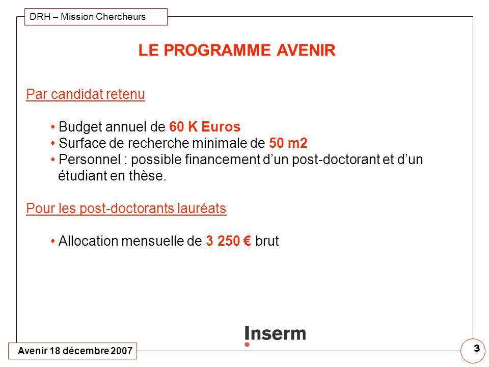 LE PROGRAMME AVENIR Par candidat retenu Budget annuel de 60 K Euros