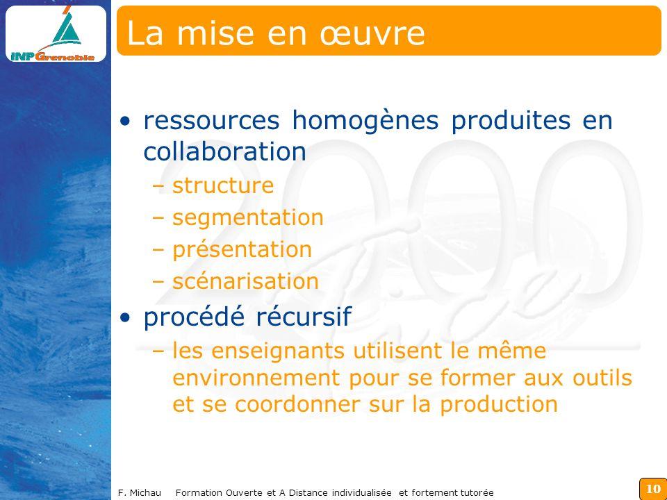 La mise en œuvre ressources homogènes produites en collaboration