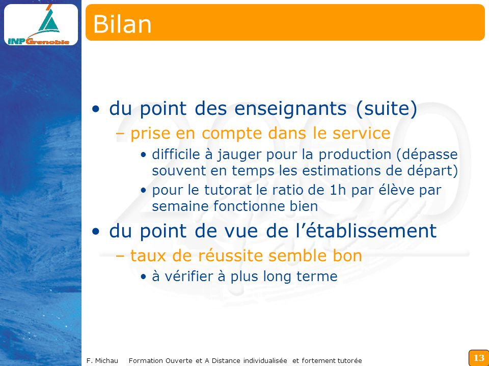 Bilan du point des enseignants (suite)