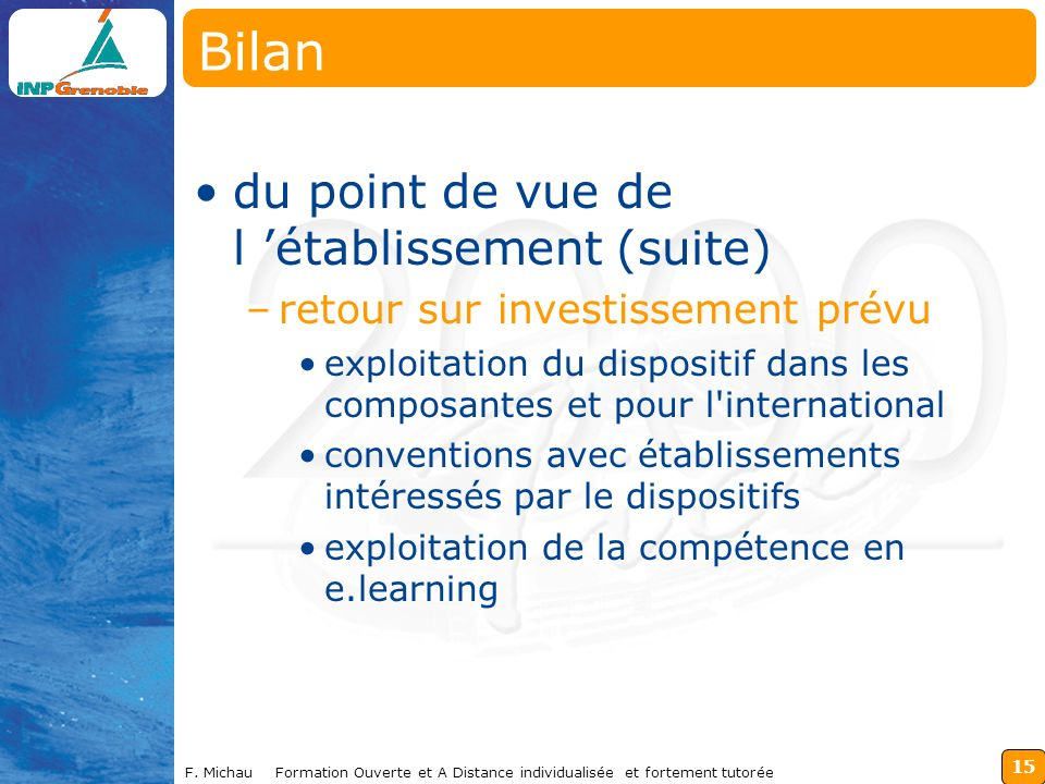 Bilan du point de vue de l 'établissement (suite)