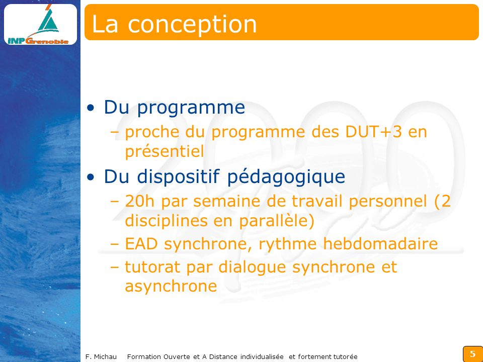 La conception Du programme Du dispositif pédagogique