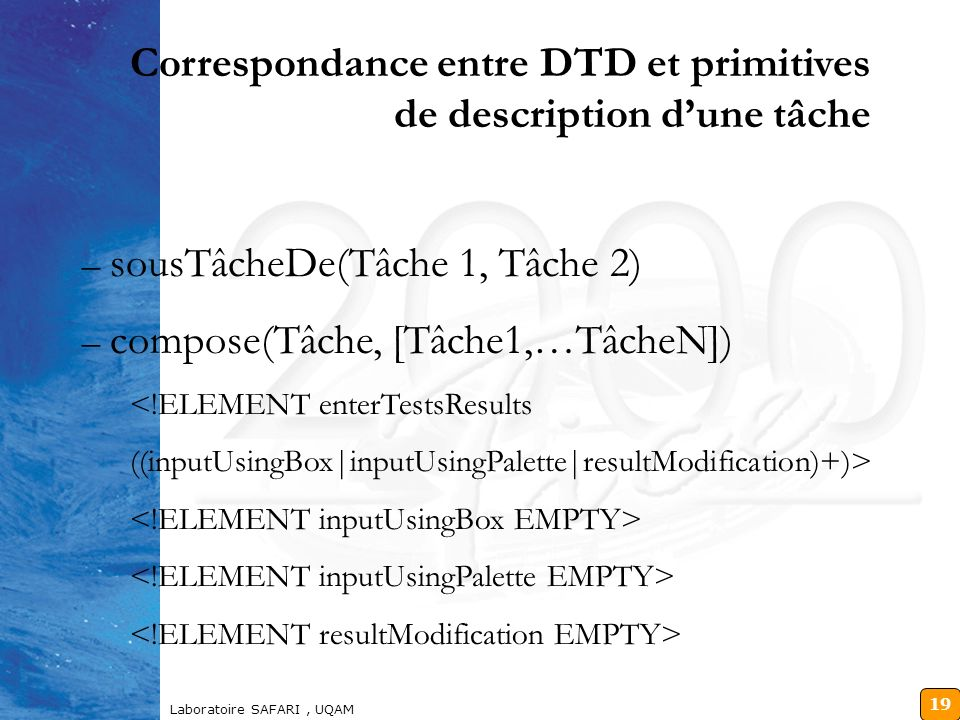 Correspondance entre DTD et primitives de description d'une tâche