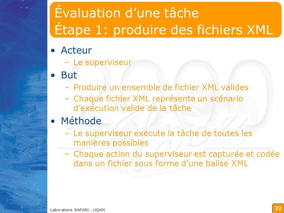 Évaluation d'une tâche Étape 1: produire des fichiers XML