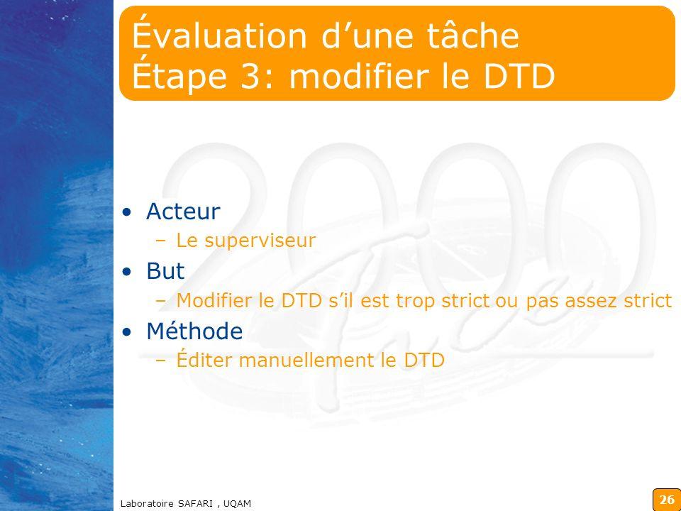Évaluation d'une tâche Étape 3: modifier le DTD