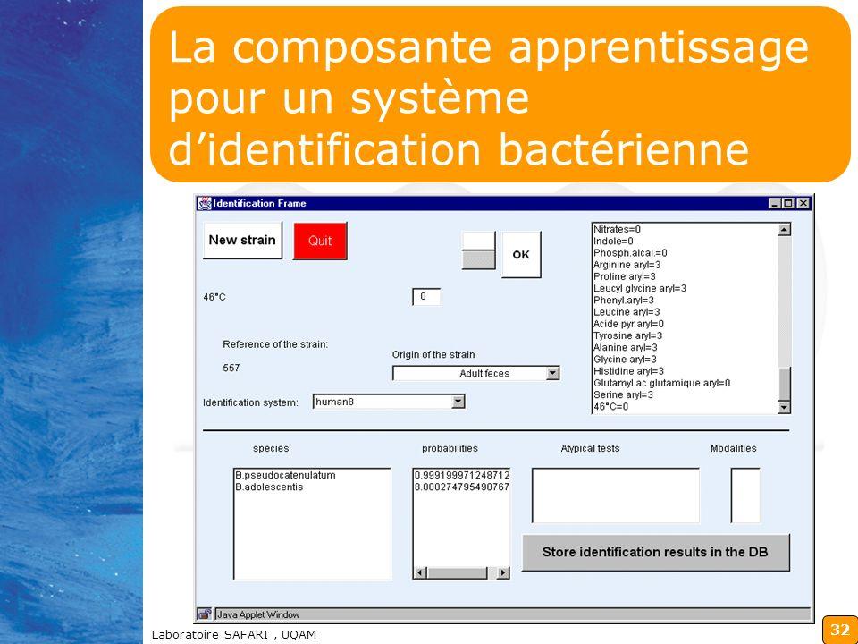 98-12-14 La composante apprentissage pour un système d'identification bactérienne.