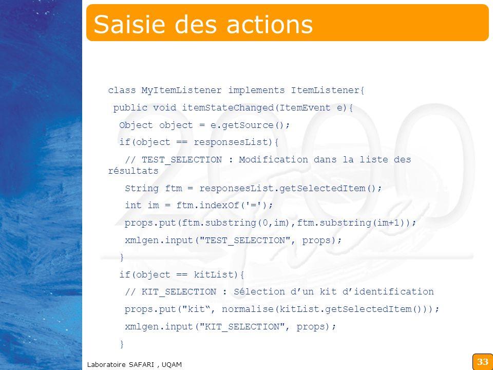 Saisie des actions class MyItemListener implements ItemListener{
