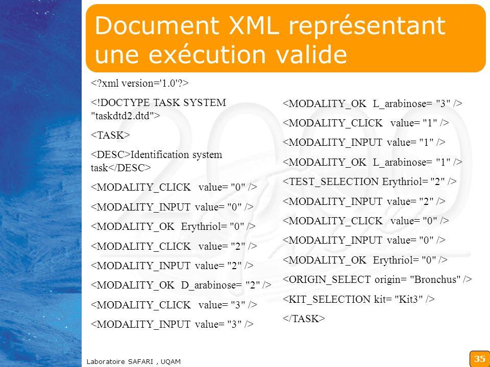 Document XML représentant une exécution valide