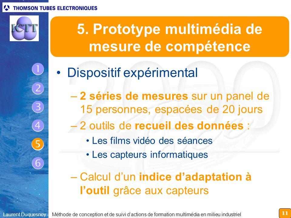 5. Prototype multimédia de mesure de compétence