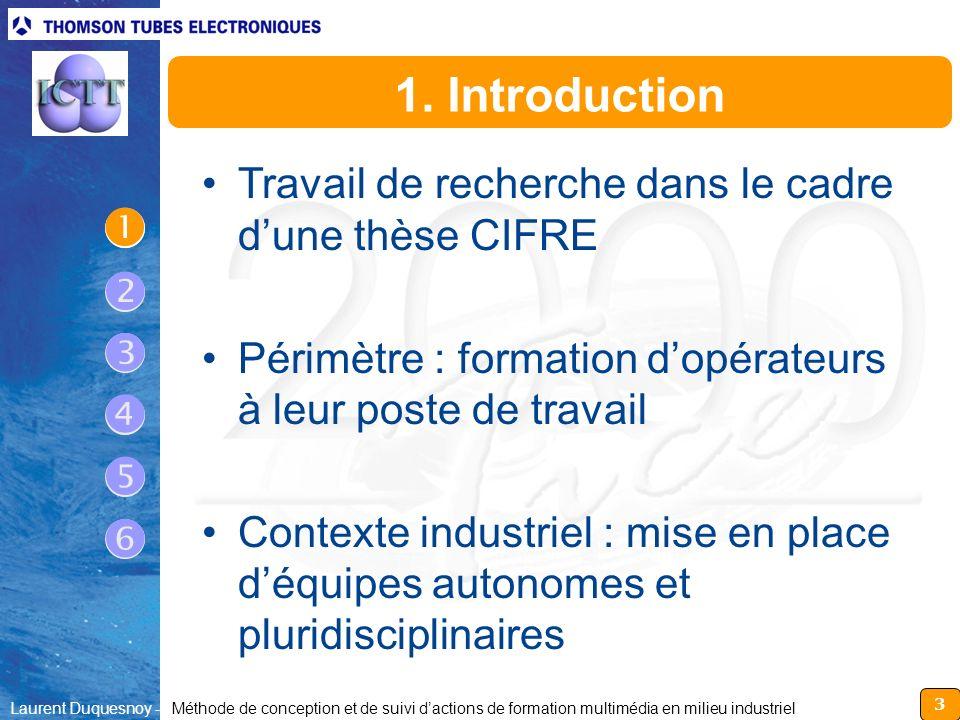  1. Introduction Travail de recherche dans le cadre d'une thèse CIFRE