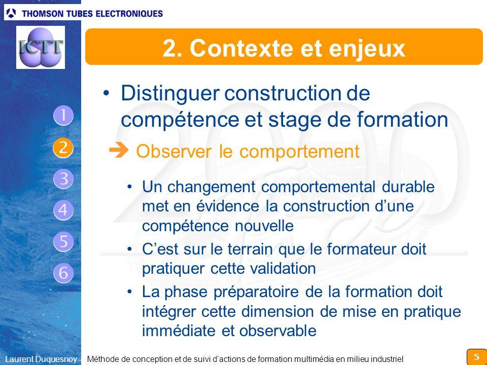 2. Contexte et enjeux Distinguer construction de compétence et stage de formation.  Observer le comportement.