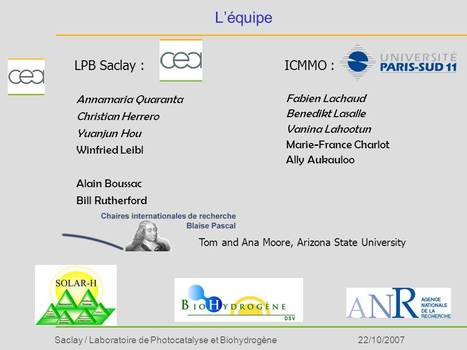 L'équipe LPB Saclay : ICMMO : Annamaria Quaranta Christian Herrero