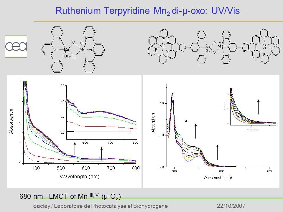 Ruthenium Terpyridine Mn2 di-µ-oxo: UV/Vis