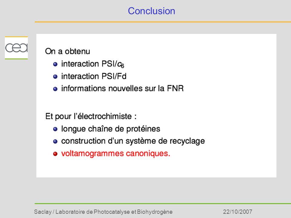 Conclusion 22/10/2007