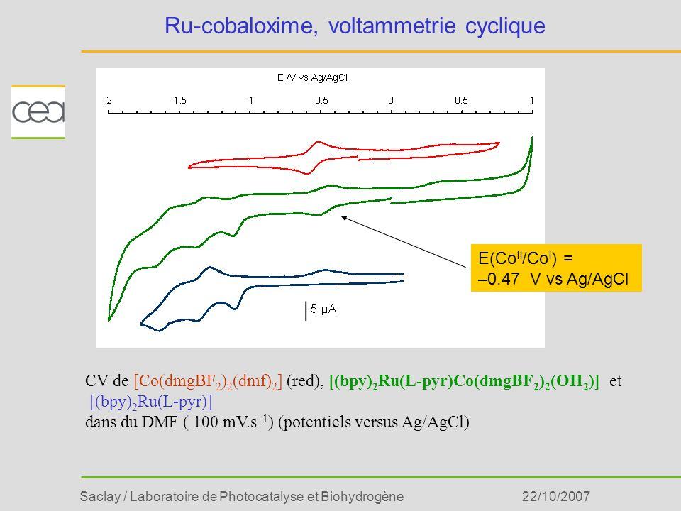 Ru-cobaloxime, voltammetrie cyclique