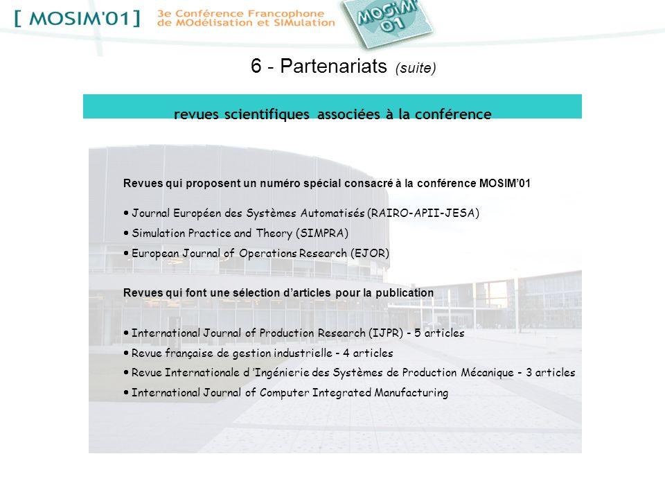 revues scientifiques associées à la conférence