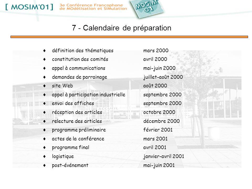 7 - Calendaire de préparation