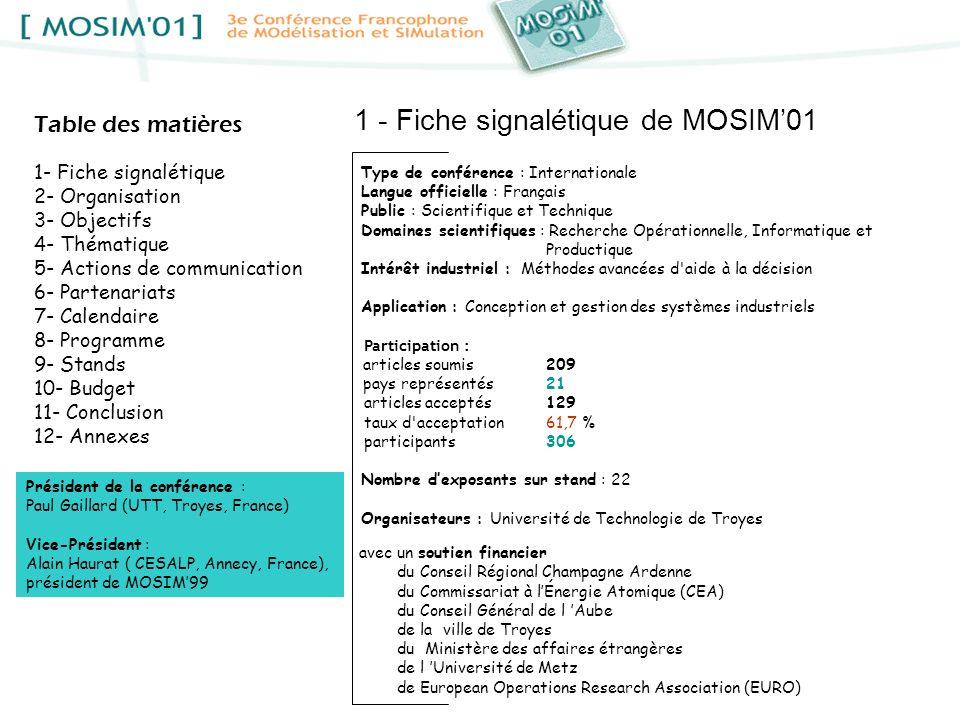 1 - Fiche signalétique de MOSIM'01