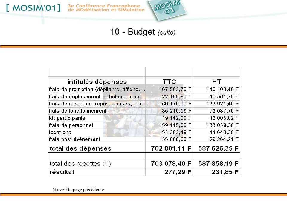 10 - Budget (suite) (1) voir la page précédente