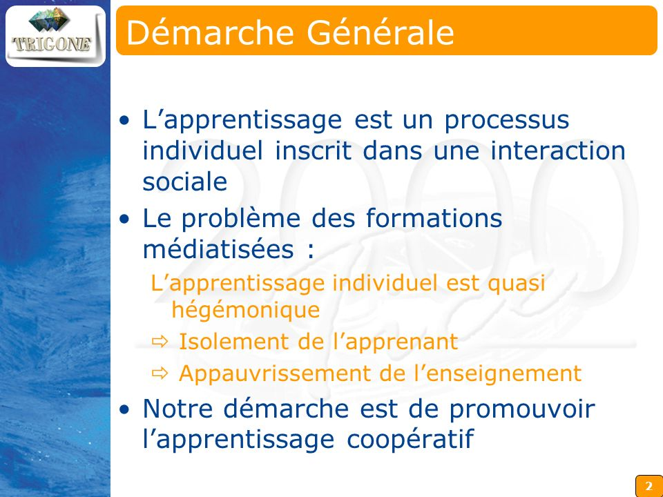 Démarche Générale L'apprentissage est un processus individuel inscrit dans une interaction sociale.