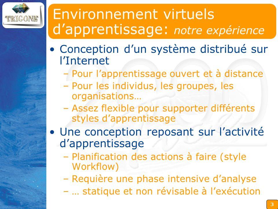 Environnement virtuels d'apprentissage: notre expérience