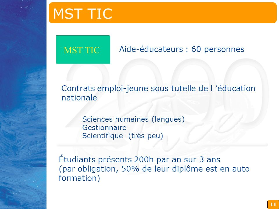 MST TIC MST TIC Aide-éducateurs : 60 personnes