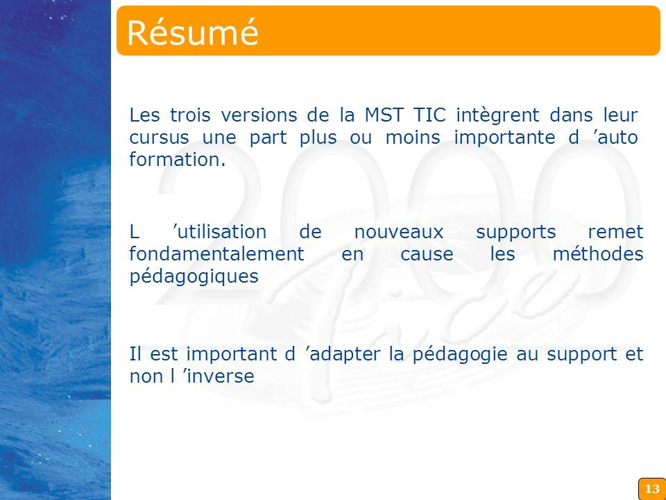 Résumé Les trois versions de la MST TIC intègrent dans leur cursus une part plus ou moins importante d 'auto formation.