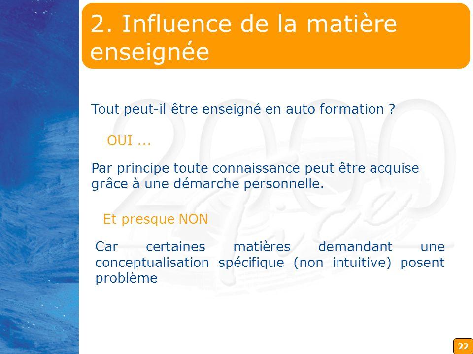 2. Influence de la matière enseignée