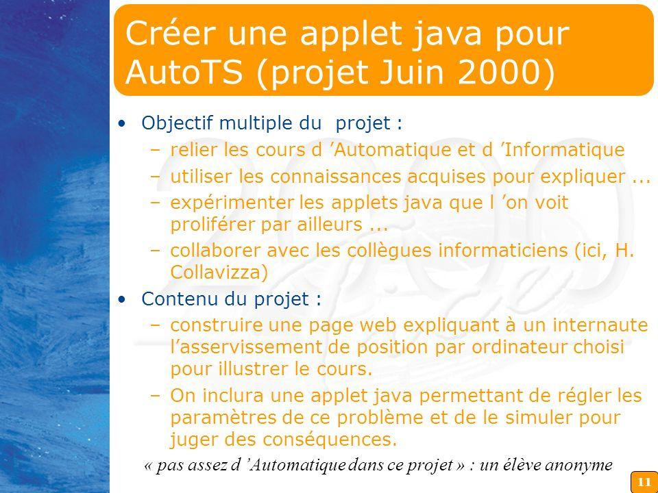 Créer une applet java pour AutoTS (projet Juin 2000)
