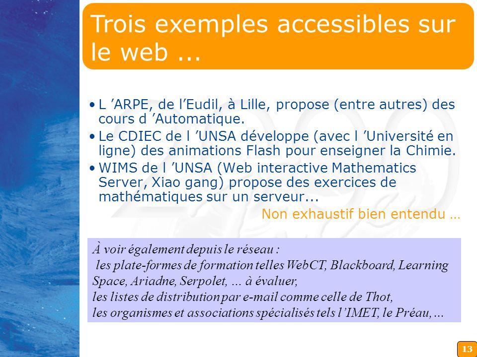Trois exemples accessibles sur le web ...