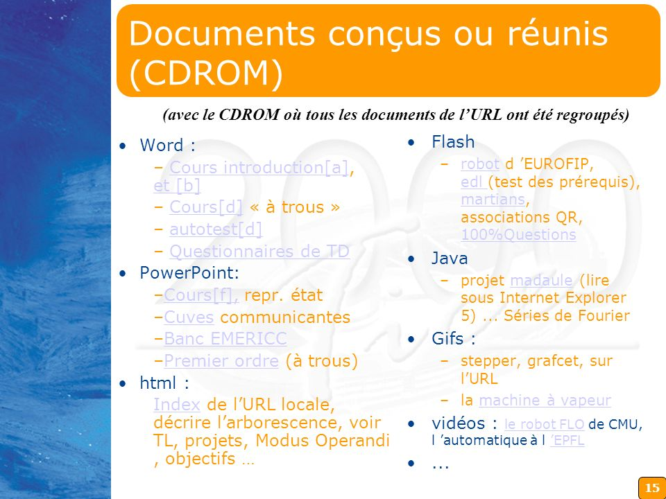 Documents conçus ou réunis (CDROM)