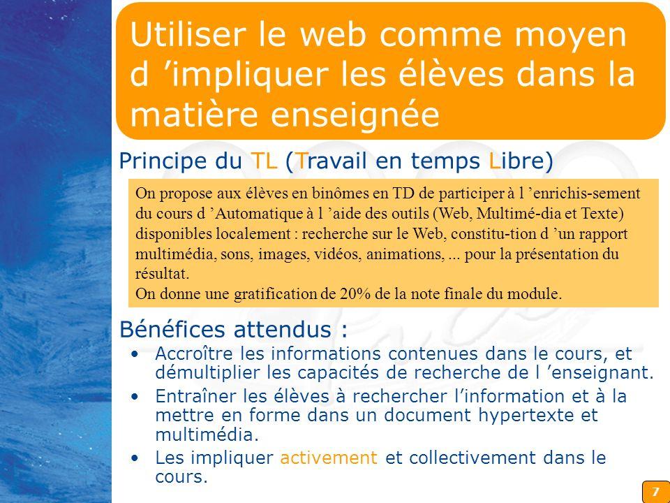 Utiliser le web comme moyen d 'impliquer les élèves dans la matière enseignée